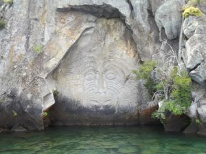 Māori rock carvings on Lake Taupō